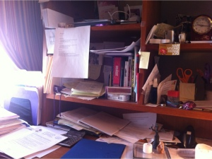 My desk, note the candle and two Goddess images - lower left.